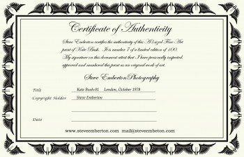 Limited edition prints for Limited edition print certificate of authenticity template